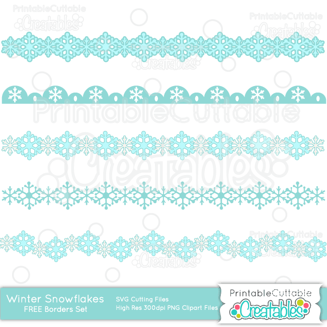Winter Snowflakes Borders Free SVG Cut Files & Clipart Set
