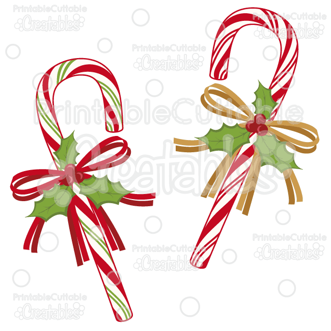 Holly Ribbon Candy Canes Svg Cut Files Clipart