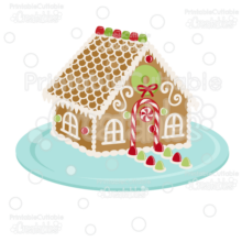 Christmas Gingerbread House SVG Cut File & Clipart