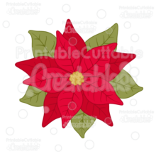 Christmas Flower Poinsettia SVG Cut File & Clipart