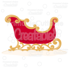 Christmas Sleigh SVG Cut File & Clipart