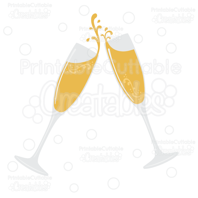 Flourish Champagne Glasses SVG Cut File & Clipart