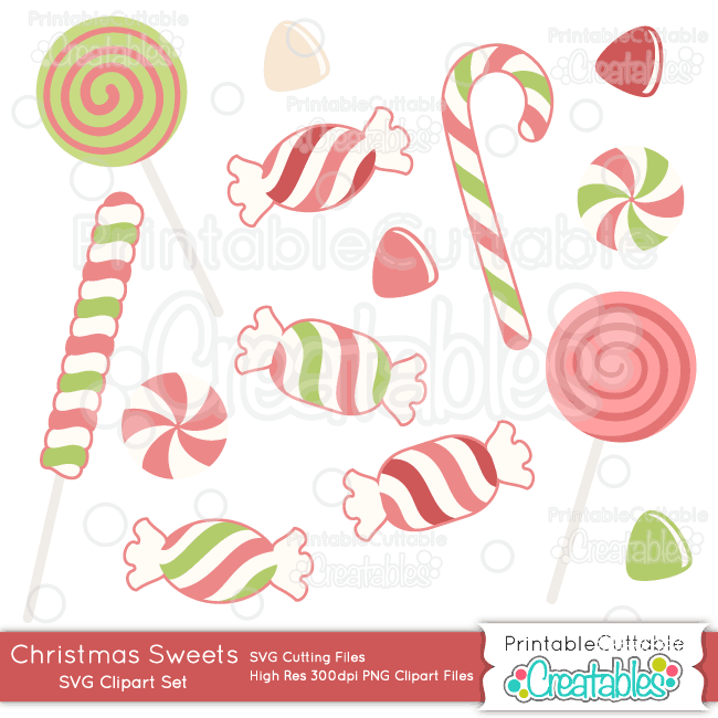 Christmas Candy Clipart.Christmas Sweets Svg Cut File Clipart Set