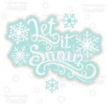 Let it Snow Scrapbook Title SVG Cut File & Clipart