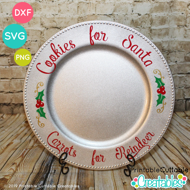 Cookies for Santa Christmas Plate with vinyl Free SVG