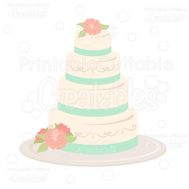 Wedding Cake SVG Cut File & Clipart - SVG Scrapbook Cut File