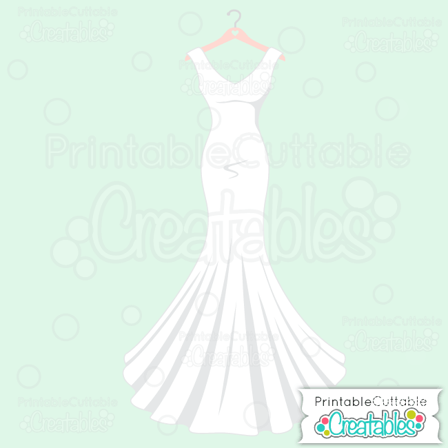 Wedding Dress Clip Art: Wedding Dress SVG Cut File & Clipart