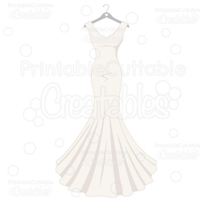 Wedding Dress SVG Cut File & Clipart - SVG Scrapbook Cut File