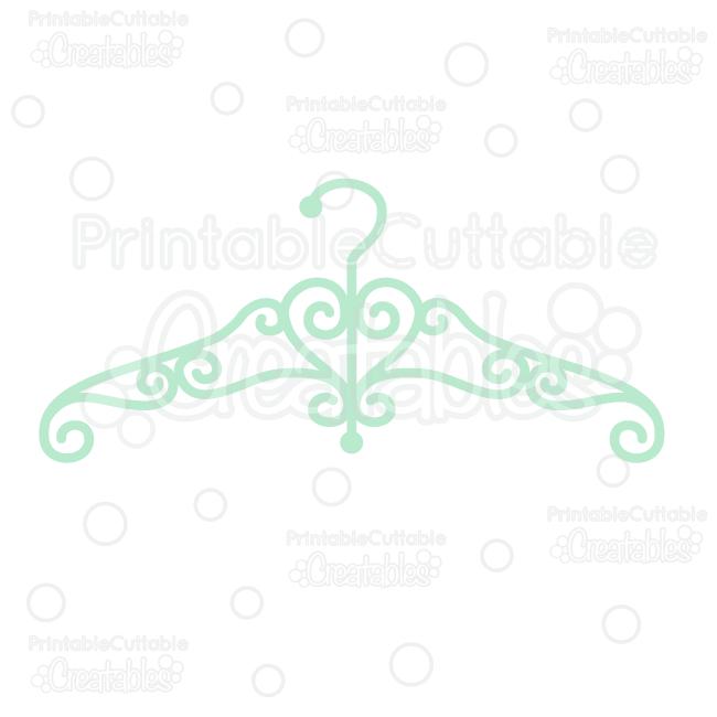Fancy Swirly Dress Hanger SVG Cut File & Clipart