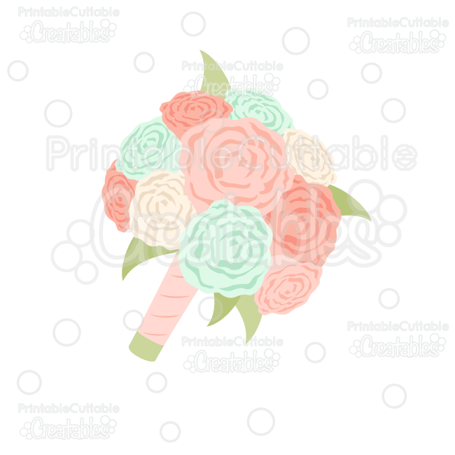 Wedding Flower Bouquet SVG Cut File for Silhouette Cameo, Cricut ...