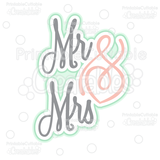 Mr & Mrs Scrapbook Title SVG Cut File