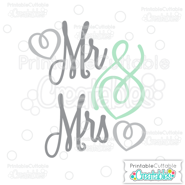 T045 Mr Mrs Scrapbook Title SVG Cut File preview et2