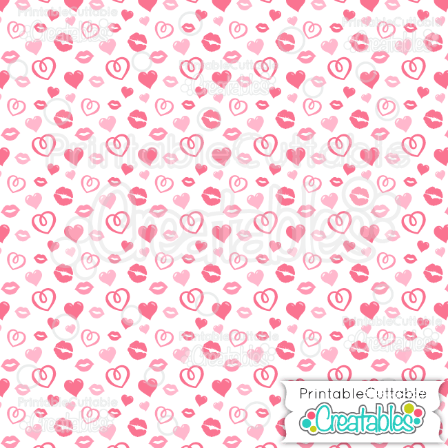 01 Tossed Hearts n Kisses Digital Paper Seamless Pattern Tile preview