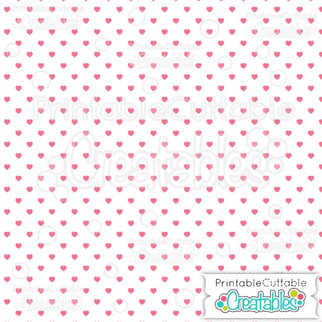 11 White Dk Pink Polka Dot Hearts Seamless Pattern Digital Paper preview