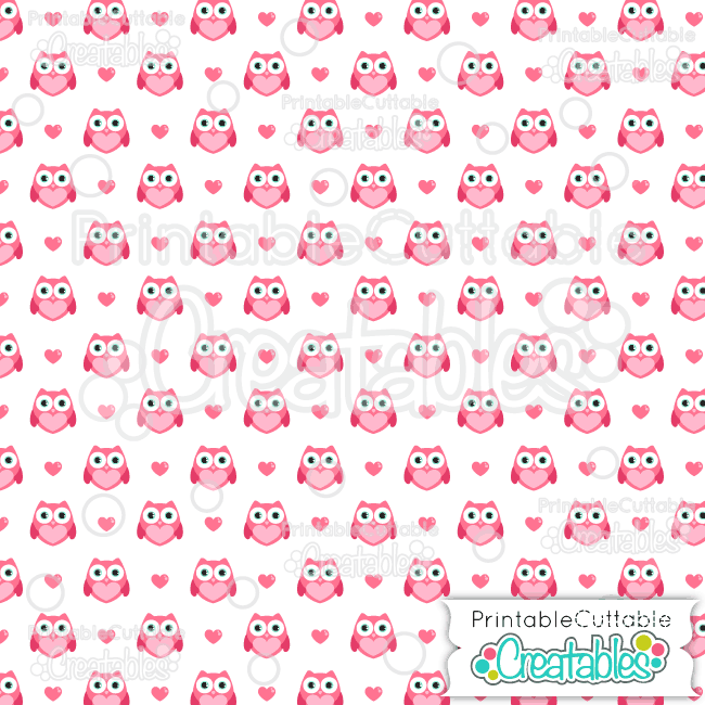 18 Valenties Heart Owl Digital Paper Seamless Pattern Tile preview