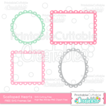 Scalloped Hearts Frames Set FREE SVG Cut Files