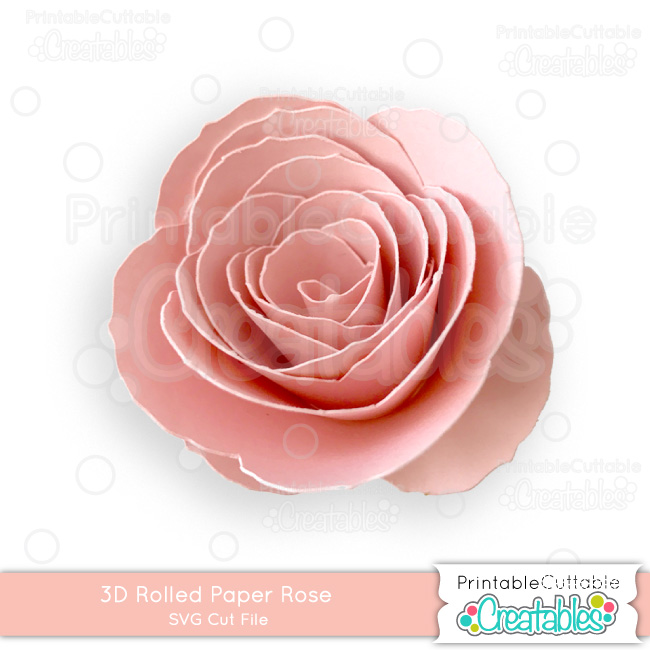 3D Rolled Paper Rose SVG Cut File