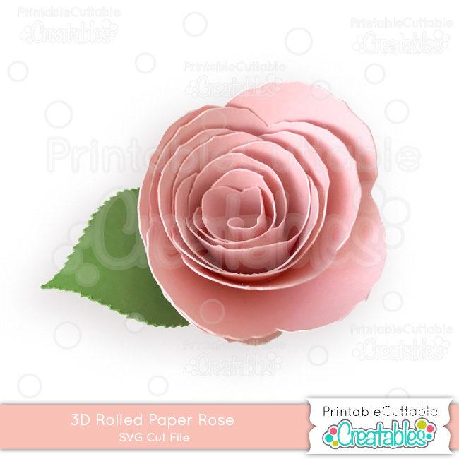 D007 3D Rolled Paper Rose SVG Cut File preview2