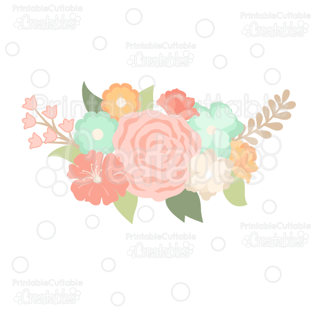 Spring Flower Group Svg Cut File Clipart Silhouette Cameo Cricut