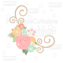 Spring Flower Flourish Corner SVG Cut File