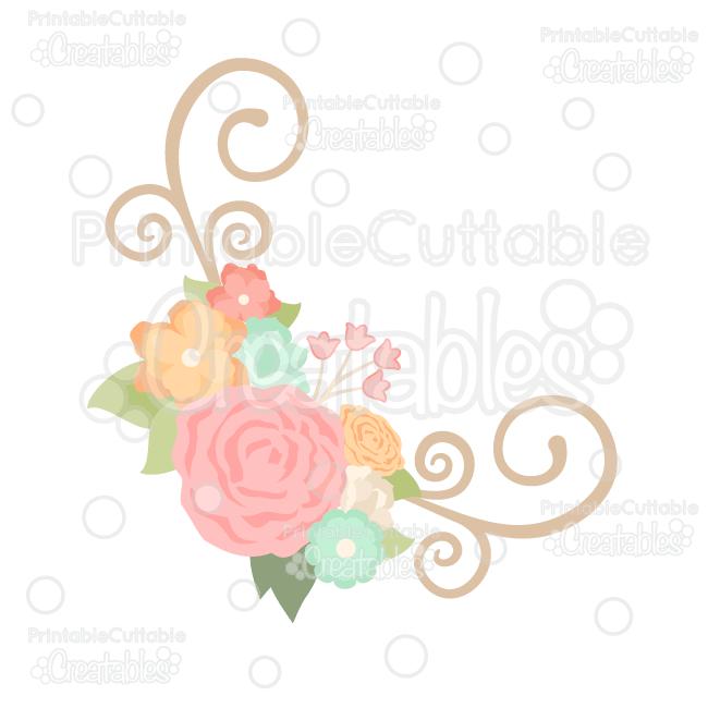 Spring Flower Flourish Corner SVG Cut File