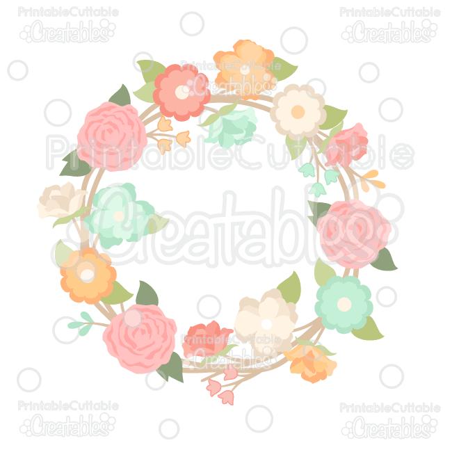 Spring Flower Wreath SVG Cut File Clipart Sale
