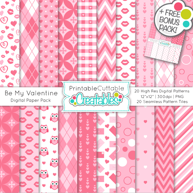 Be My Valentine Seamless Patterns & Digital Paper Pack