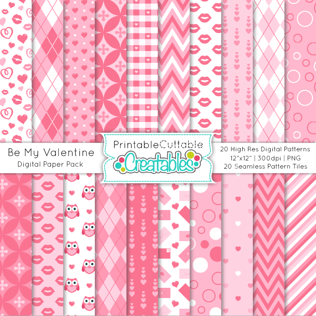 PP024 Be My Valentine Seamless Patterns Digital Paper Pack Preview