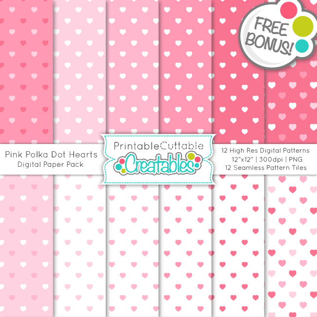 PP025 Pink Polka Dot Hearts Seamless Patterns Digital Paper Pack bonus previewpng