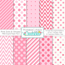Pink Dots & Stripes FREE Seamless Patterns & Digital Paper Pack
