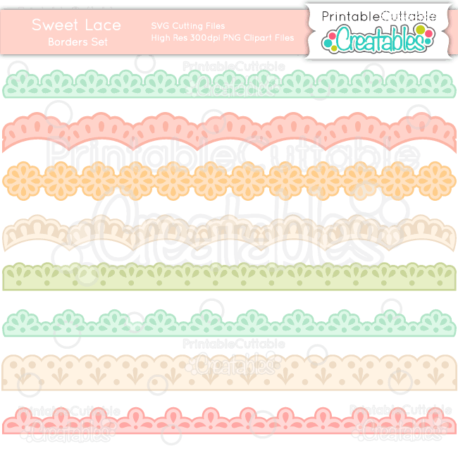 BF023 Sweet Lace Borders SVG Cut Files preview et