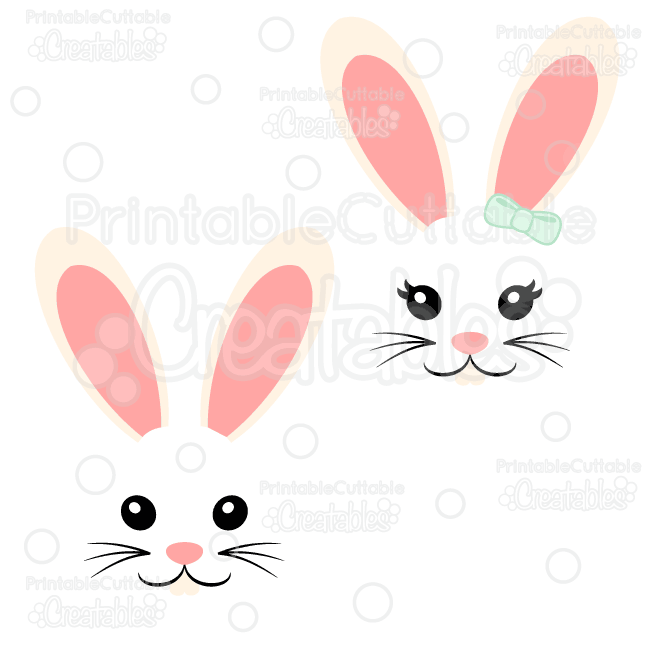 Girl & Boy Easter Bunny Face Free SVG Cut File
