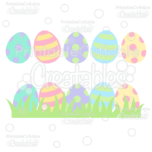 Easter Eggs in Grass SVG Cut File & Clipart