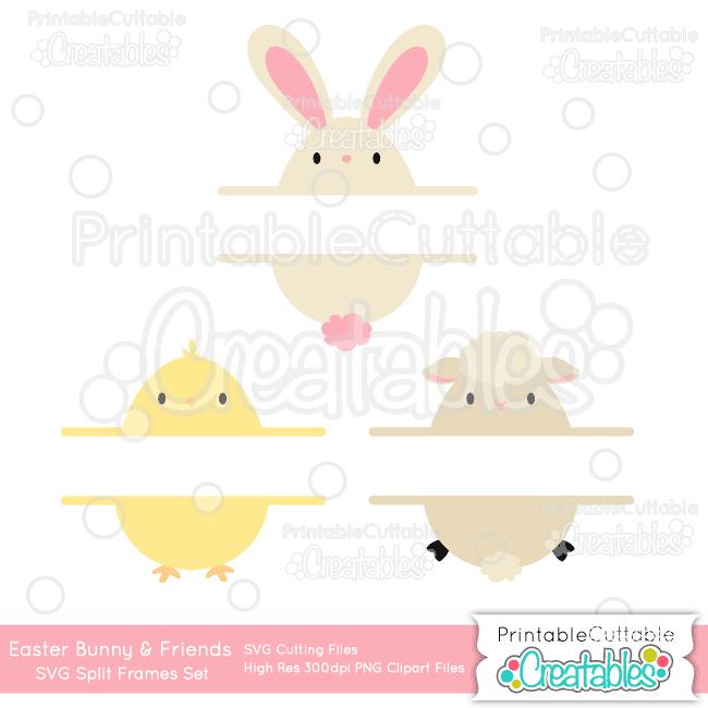Easter Bunny & Friends Split Frame SVG Set & Clipart Set for ...