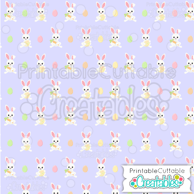 14 Easter Bunnies Lavender Seamless Pattern Digital Paper Preview