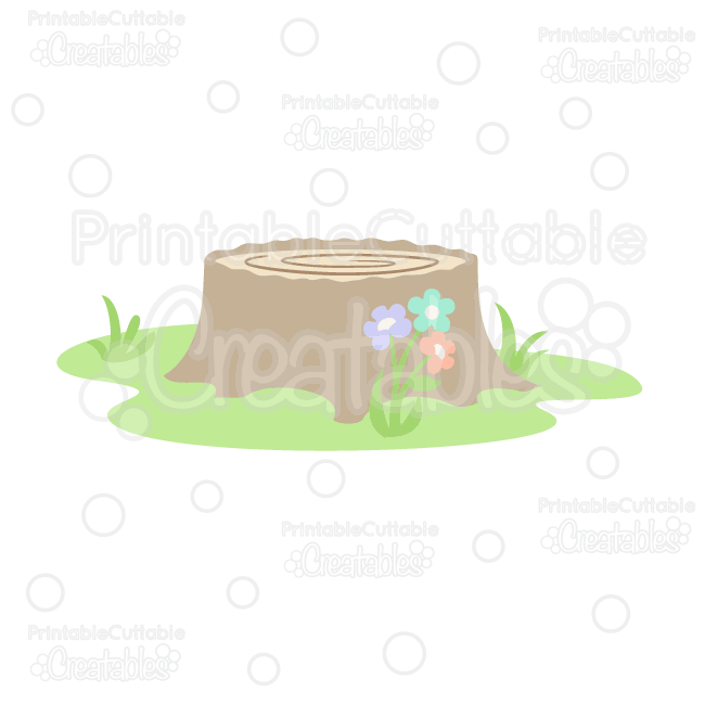 Woodland Tree Stump SVG Cut File & Clipart