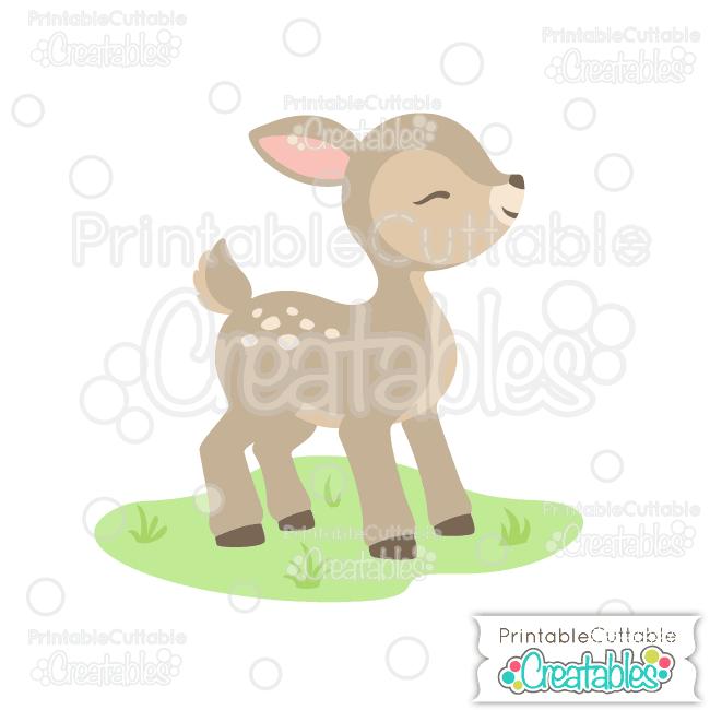 E258 Cute Woodland Deer SVG Cut File preview et2