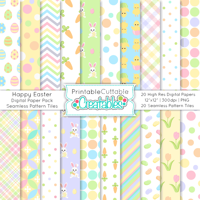 Happy Easter Seamless Patterns Digital Paper Pack
