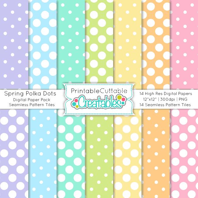 Spring Polka Dots Seamless Patterns & Digital Paper Pack