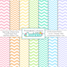 Spring Chevron Seamless Patterns & Digital Paper Pack
