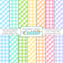 Spring Gingham Check Seamless Patterns & Digital Paper Pack