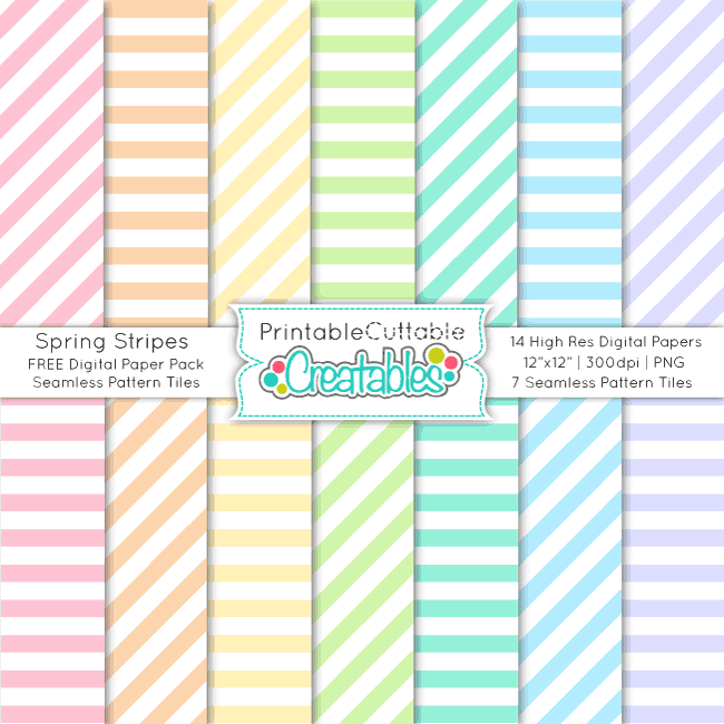 PP031FB Spring Stripes FREE Seamless Patterns Digital Paper Pack preview