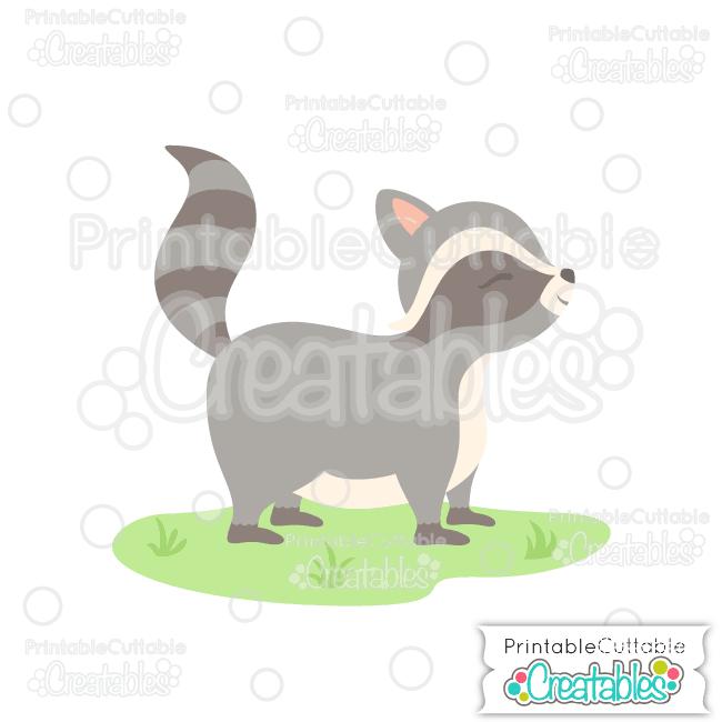 E262 Cute Woodland Raccoon Cuttable SVG File preview et2