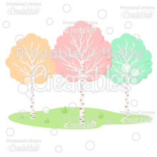 Woodland Birch Trees Cuttable SVG Files
