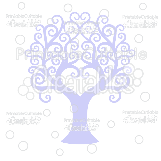 Swirl Heart Tree Free Cuttable Svg File Clipart For Silhouette