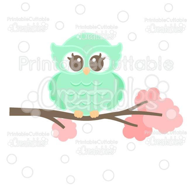 Sweet Woodland Owl Cuttable SVG File & Clipart