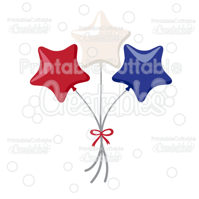 Patriotic Star Balloons Cuttable SVG File & Clipart