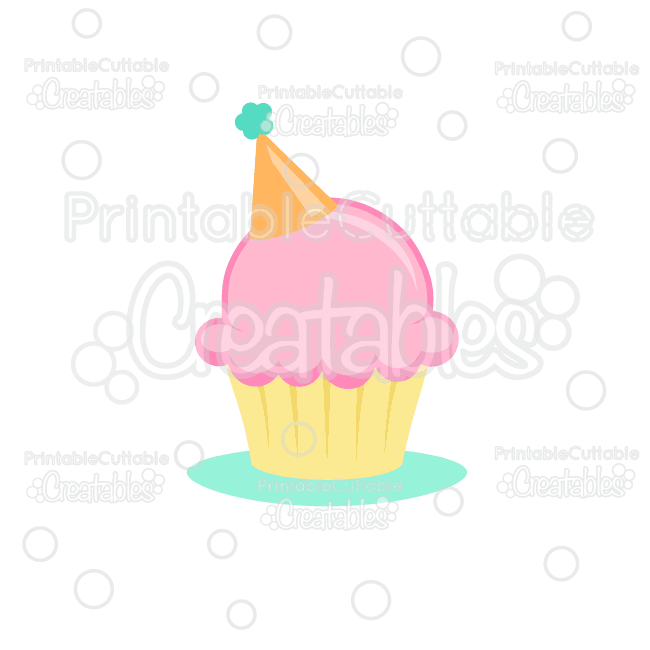 Birthday Hat Cupcake Cuttable SVG File & Clipart