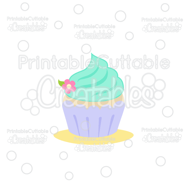 Sweet Flower Cupcake Cuttable SVG File & Clipart