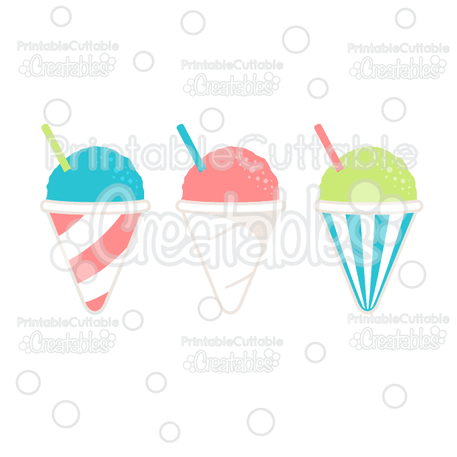 Summer Snow Cones Cuttable SVG File & Clipart